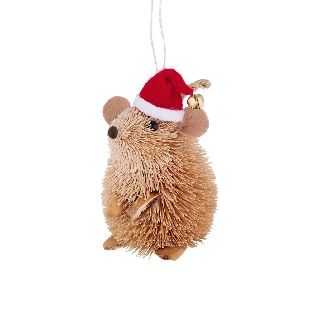 HANG ON Ozdoba myš s čepicí ze slámy