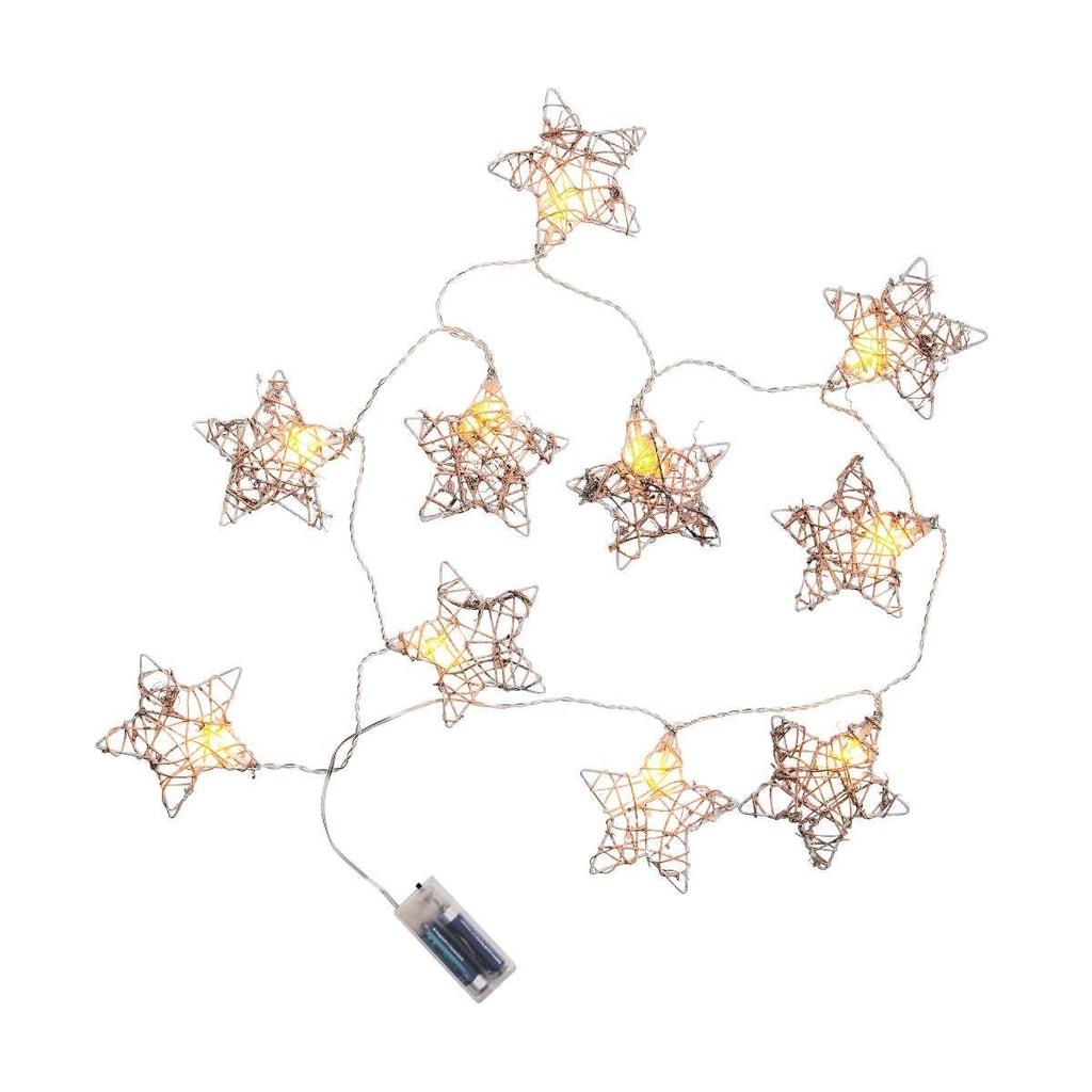 STARSHINE Světelný řetěz ratanové hvězdy 10 světel