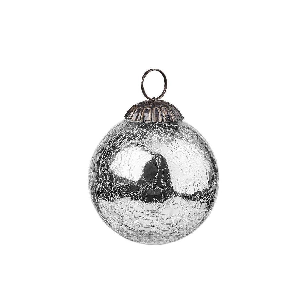 HANG ON Ozdoba koule popraskaná 8 cm - stříbrná