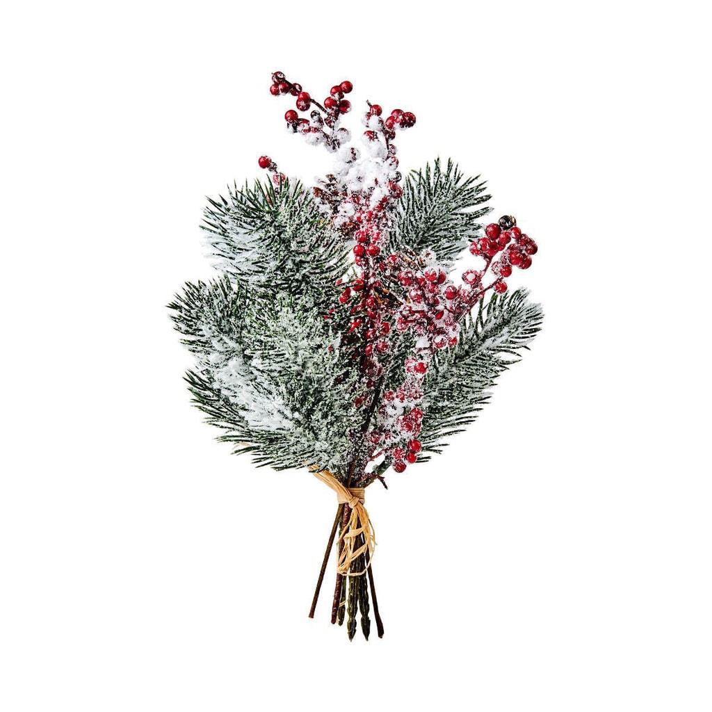 WINTERGREEN Větvička borovice s bobulkami zasněžená