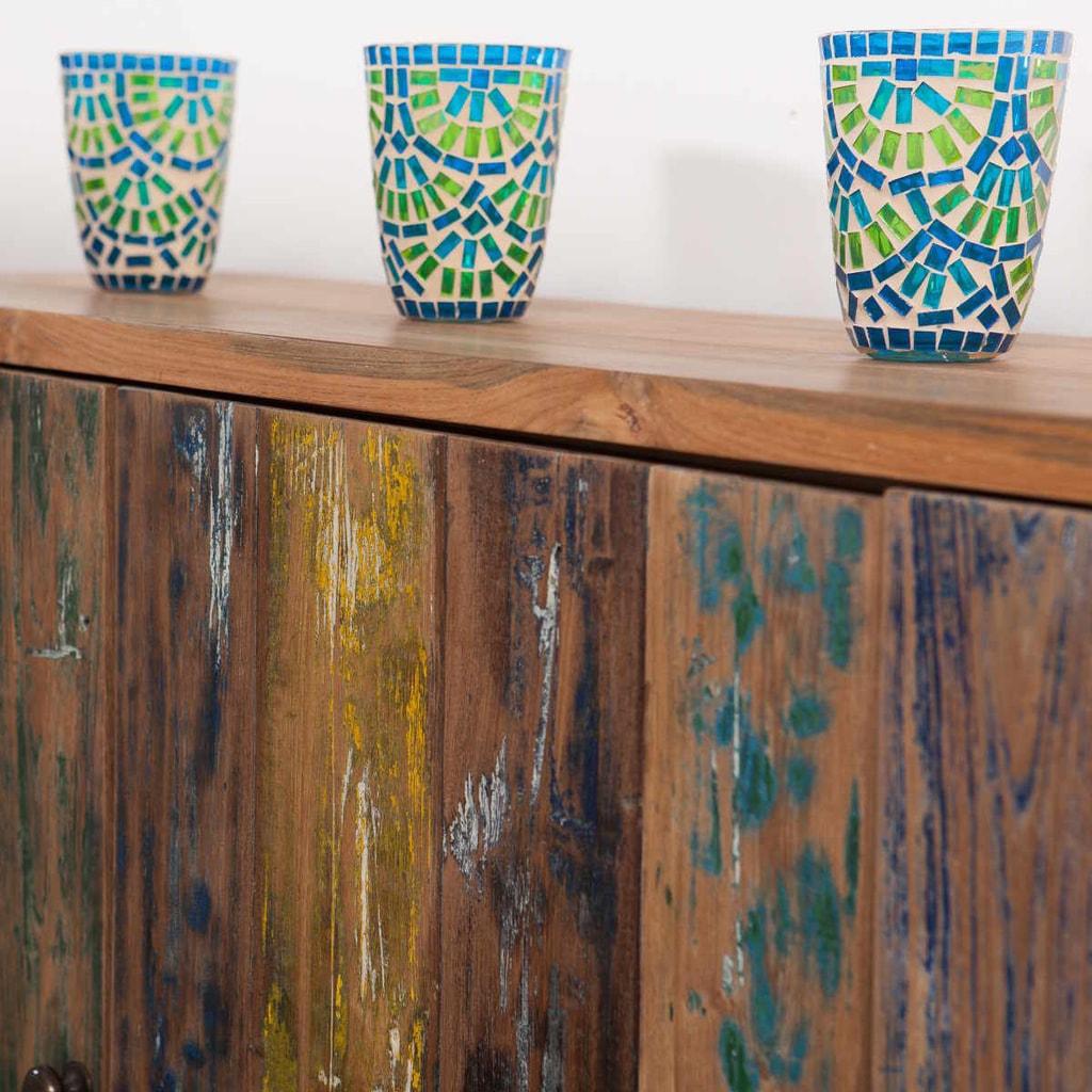 TIFFANY Lucerna na svíčku 12cm - barevná