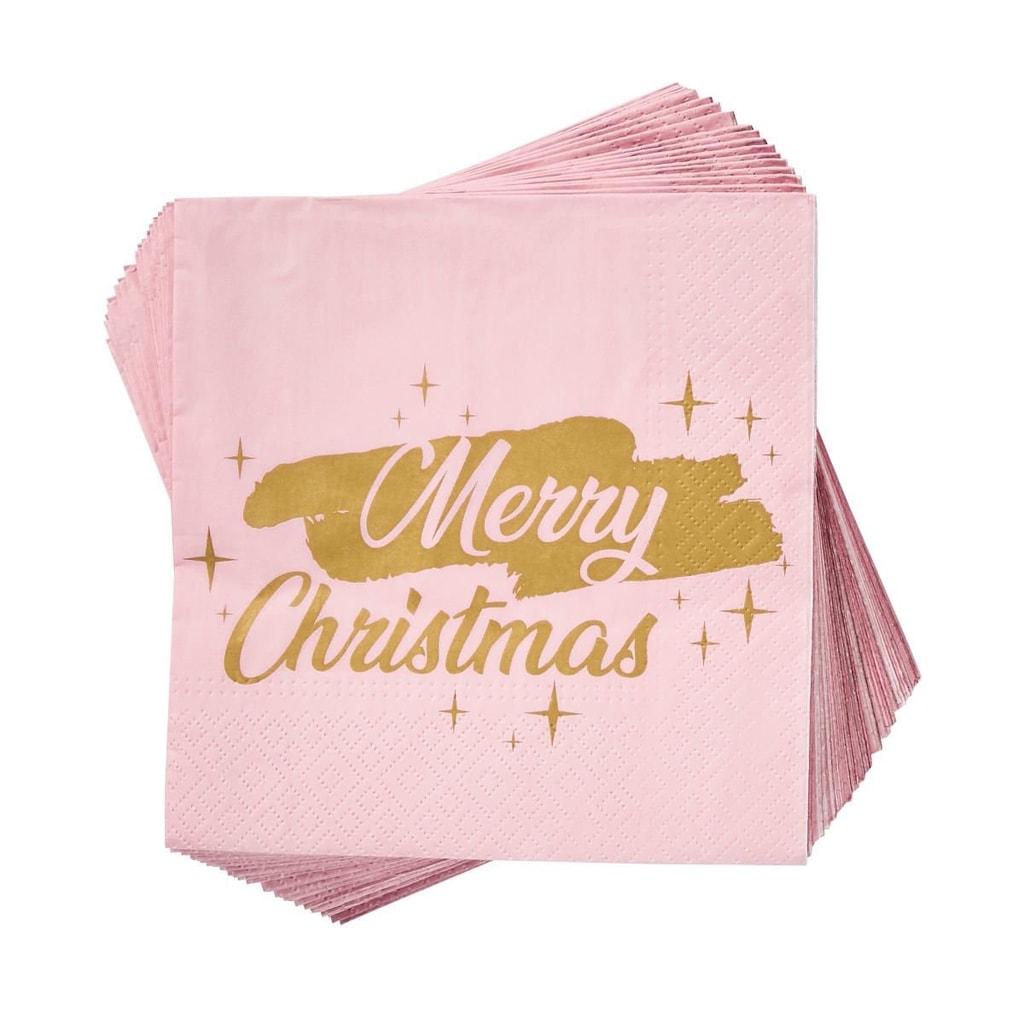 """APRÉS Papírové ubrousky """"Merry Christmas"""" 20 ks - sv. růžová"""
