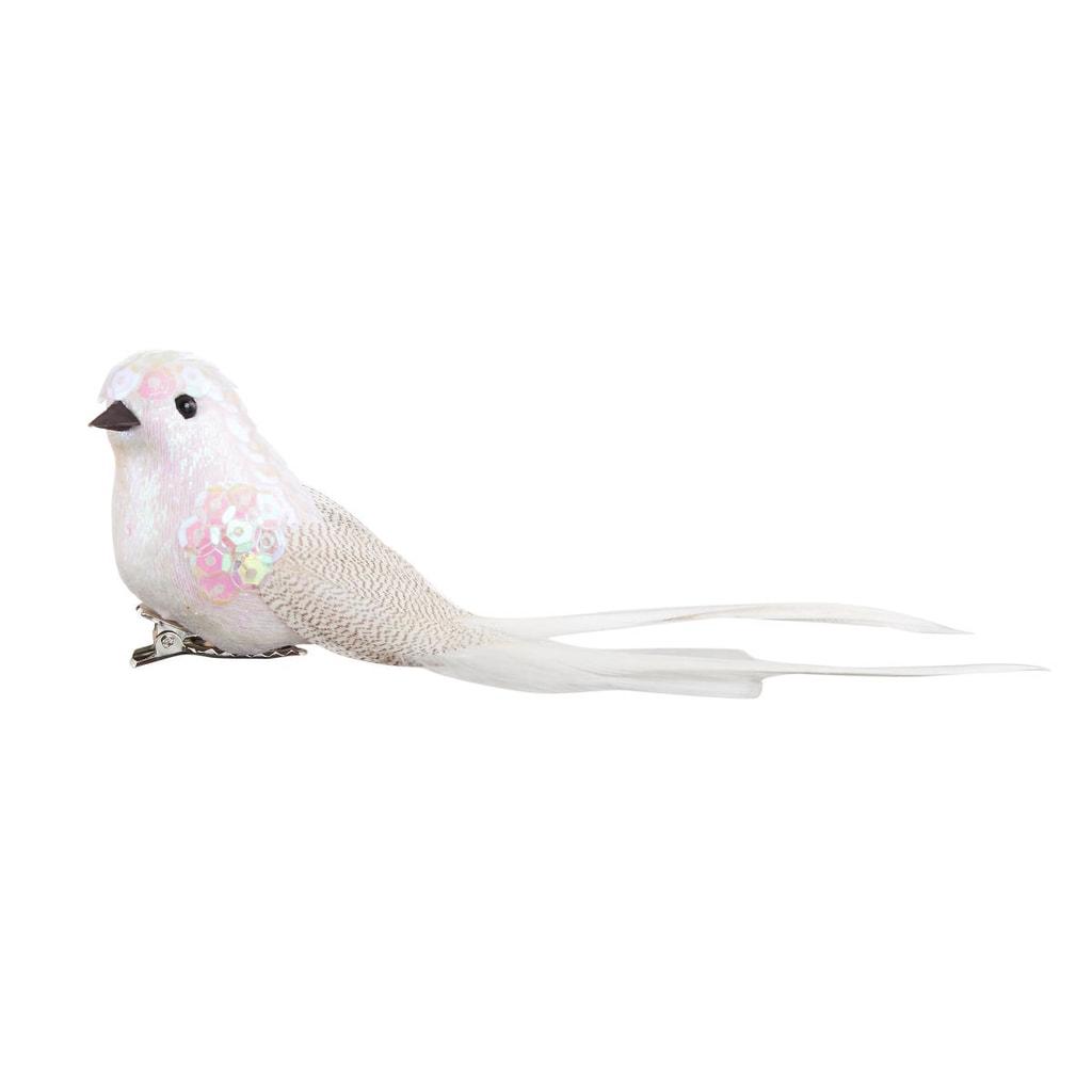 BIRDY Ptáček s klipem 16 cm - bílá