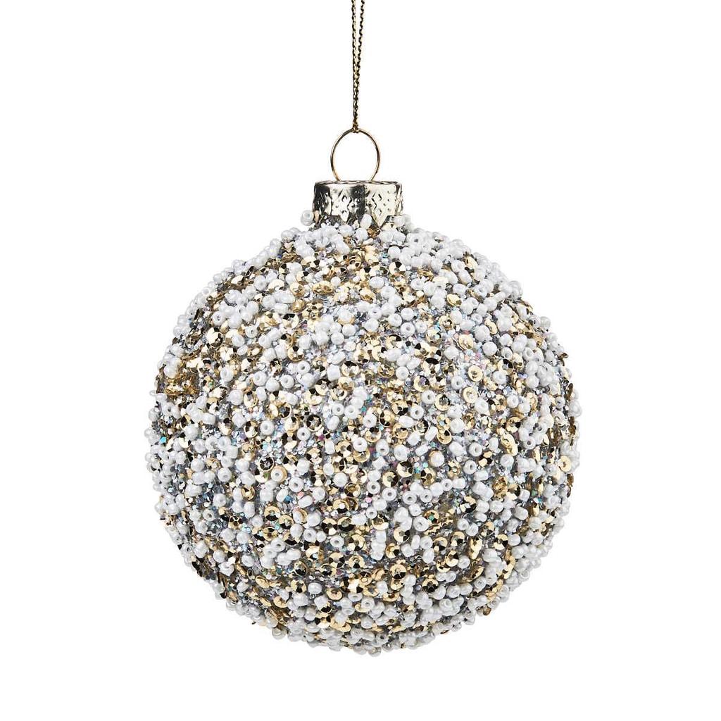 HANG ON Ozdoba vánoční koule s perlami 8 cm - zlatá/bílá