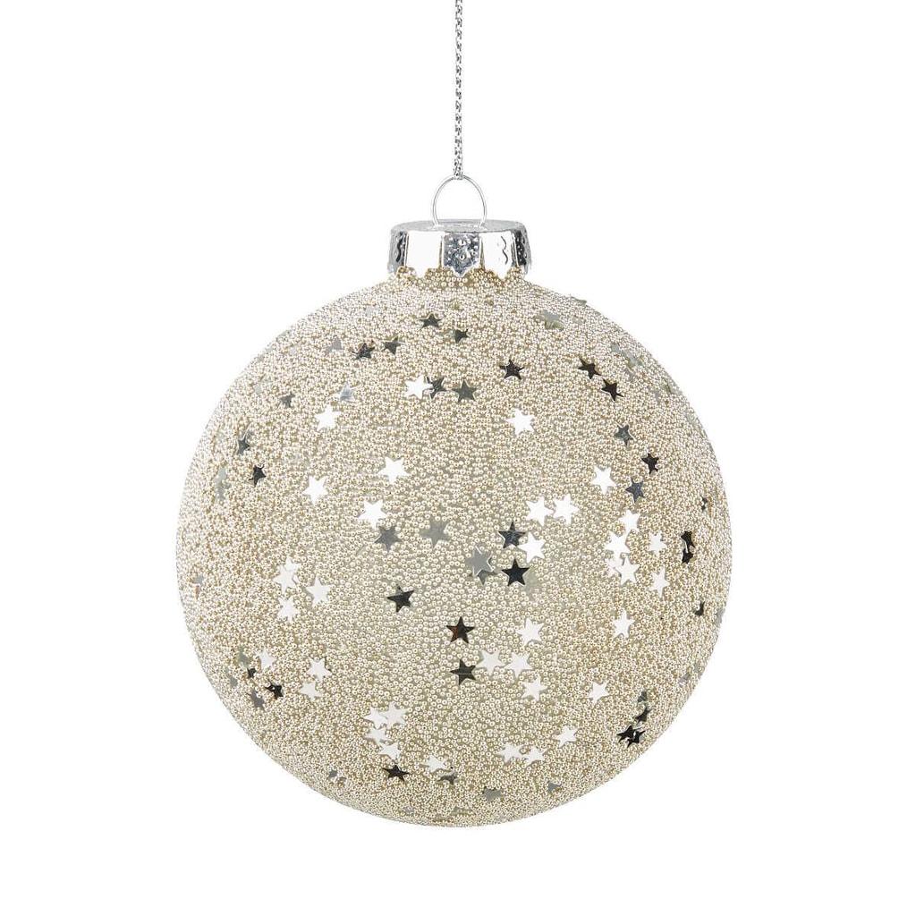 HANG ON Ozdoba koule hvězdy 8 cm - stříbrná