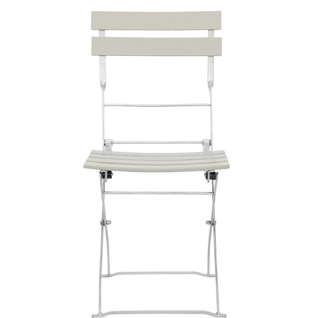 STREET LIFE Skládací židle se stříbrnou spodní konstrukcí - šedohnědá/bílá