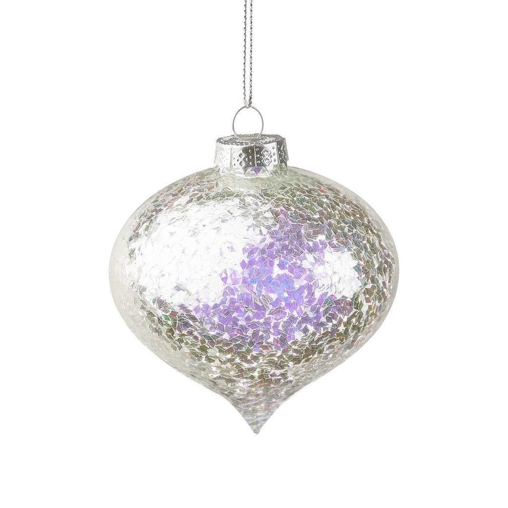 HANG ON Ozdoba vánoční koule zdobená 8 cm - stříbrná