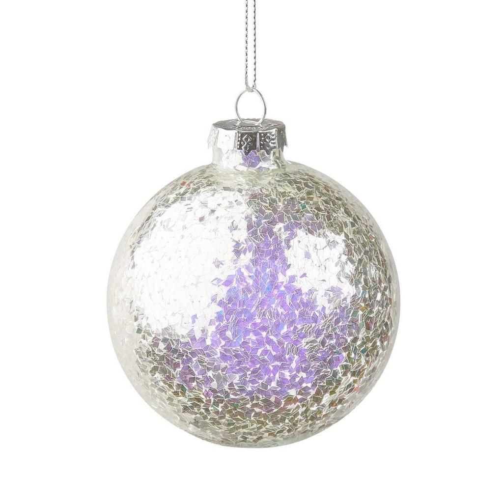 HANG ON Ozdoba vánoční koule se třpytkami 8 cm - stříbrná