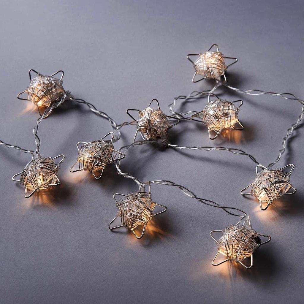STAR LIGHTS LED Světelný řetěz kovové hvězdy 10 světel