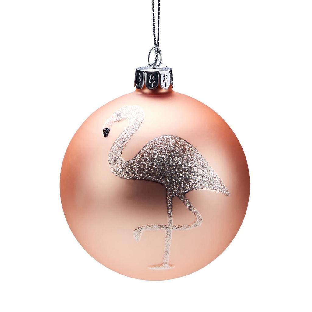 HANG ON Skleněná koule plameňák 8 cm - růžová/bí