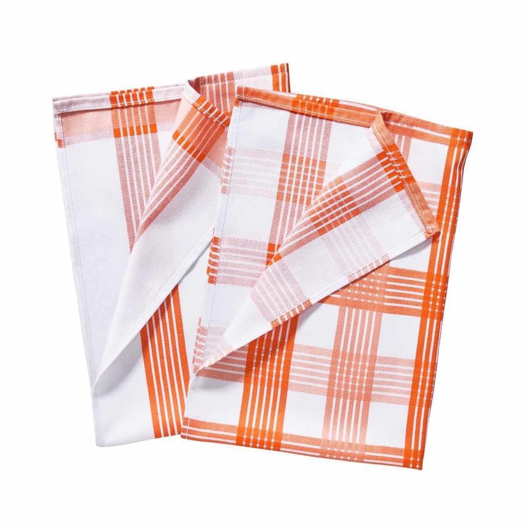 CLEAN TEAM Utěrka set 2 ks - oranžová/bílá