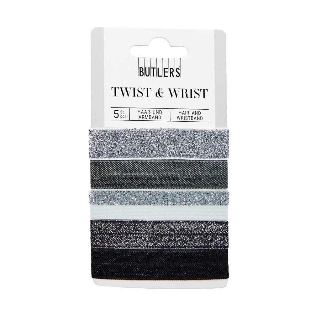 TWIST & WRIST Gumička na vlasy  a náramek v jednom - šedá