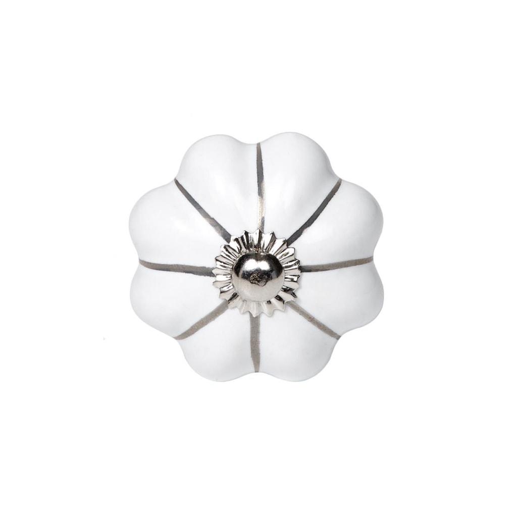 OPEN Nábytková úchytka květina se stříbrnými proužky