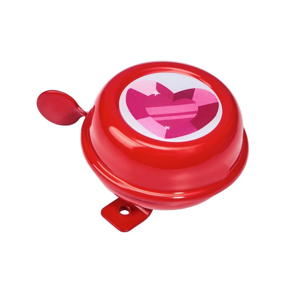 Fotografie DING DONG Zvonek na kolo srdce 6 cm - růžová