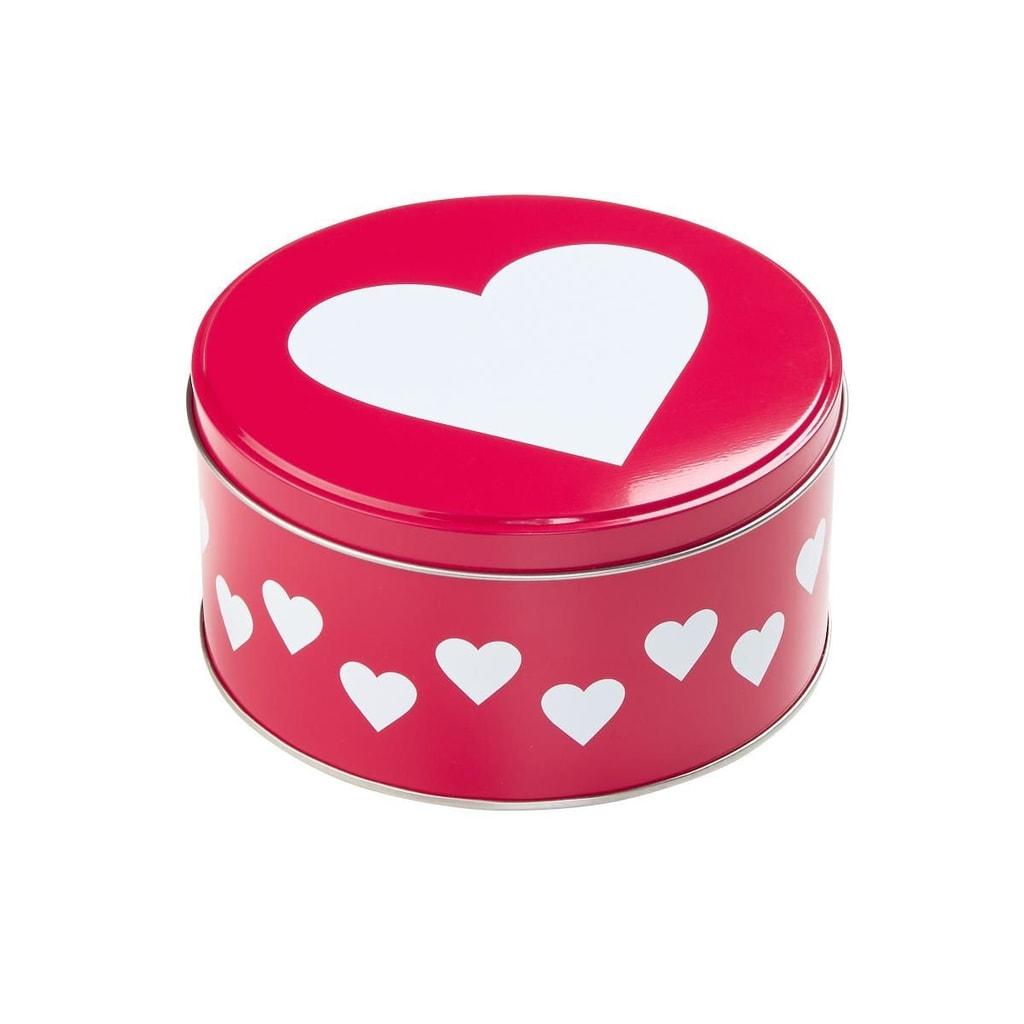 COOKIE JAR Dóza kulatá srdce 13,5 cm - červená/bílá