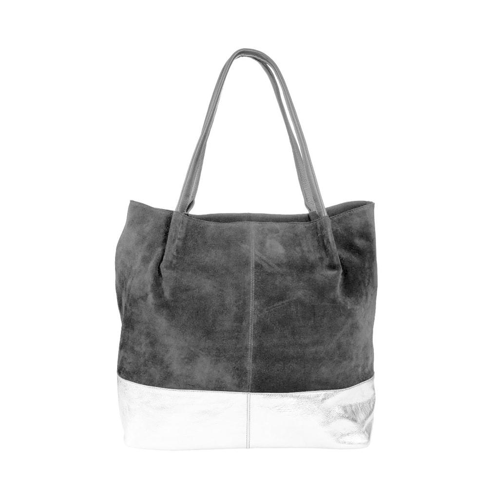 BOUTIQUE Kabelka Shopper z pravé kůže - černá/stříbrná